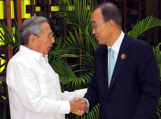 Se reúnen Raúl Castro y Ban Ki-Moon en La Habana