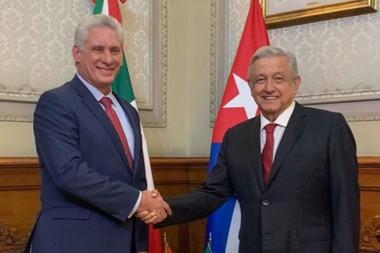 Presidente de Cuba, Miguel Díaz-Canel junto a su homólogo mexicano, Andrés Manuel López Obrador