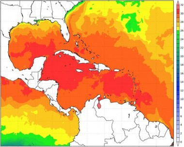 Temperaturas de la superficie del mar, 28 septiembre 2020/Alex B.