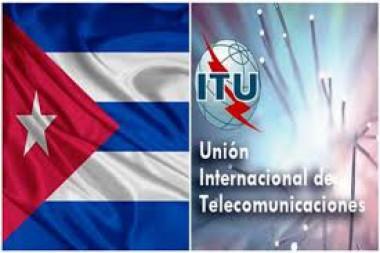Bandera cubana y logo dela ITU