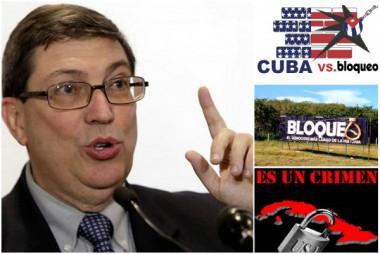 Bruno e imagen alegórica al bloqueo contra Cuba