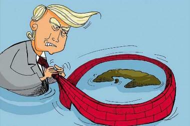 Caricatura referida al bloqueo de Estados Unidos contra Cuba