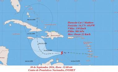 Posible trayectoria del huracán Matthew