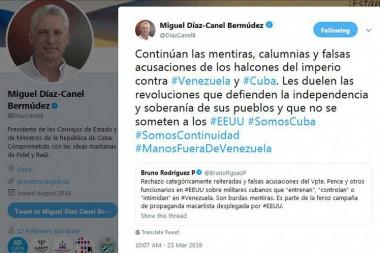 Continúa mentiras EE.UU. contra Venezuela y Cuba, afirma Díaz-Canel en twitter