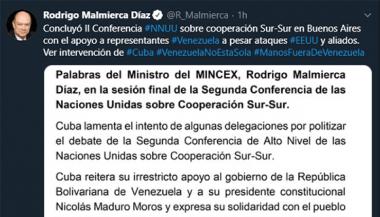 Cuba rechaza intento de politizar debate de Conferencia Sur-Sur