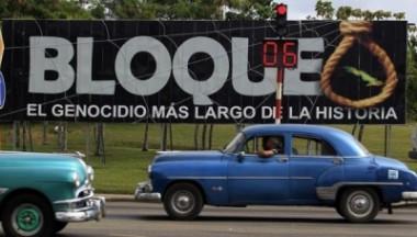 Imagen alegórica al bloqueo de Estados Unidos contra Cuba