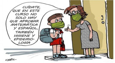 Caricatura sobre el curso escolar