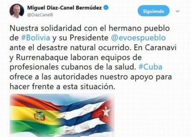 Mensaje de solidaridad a Bolivia por desastre natural